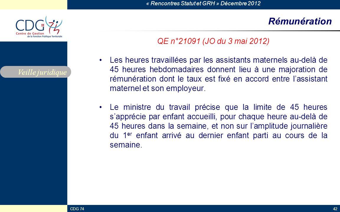 Rémunération QE n°21091 (JO du 3 mai 2012)