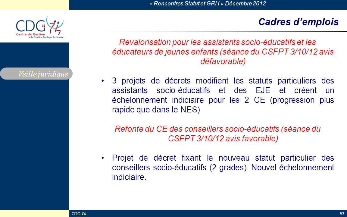 Cadres d'emplois Revalorisation pour les assistants socio-éducatifs et les éducateurs de jeunes enfants (séance du CSFPT 3/10/12 avis défavorable)