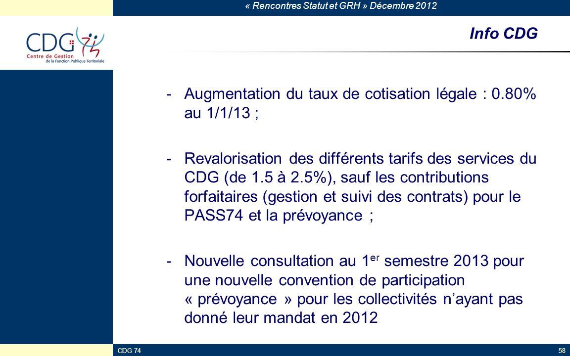 Augmentation du taux de cotisation légale : 0.80% au 1/1/13 ;
