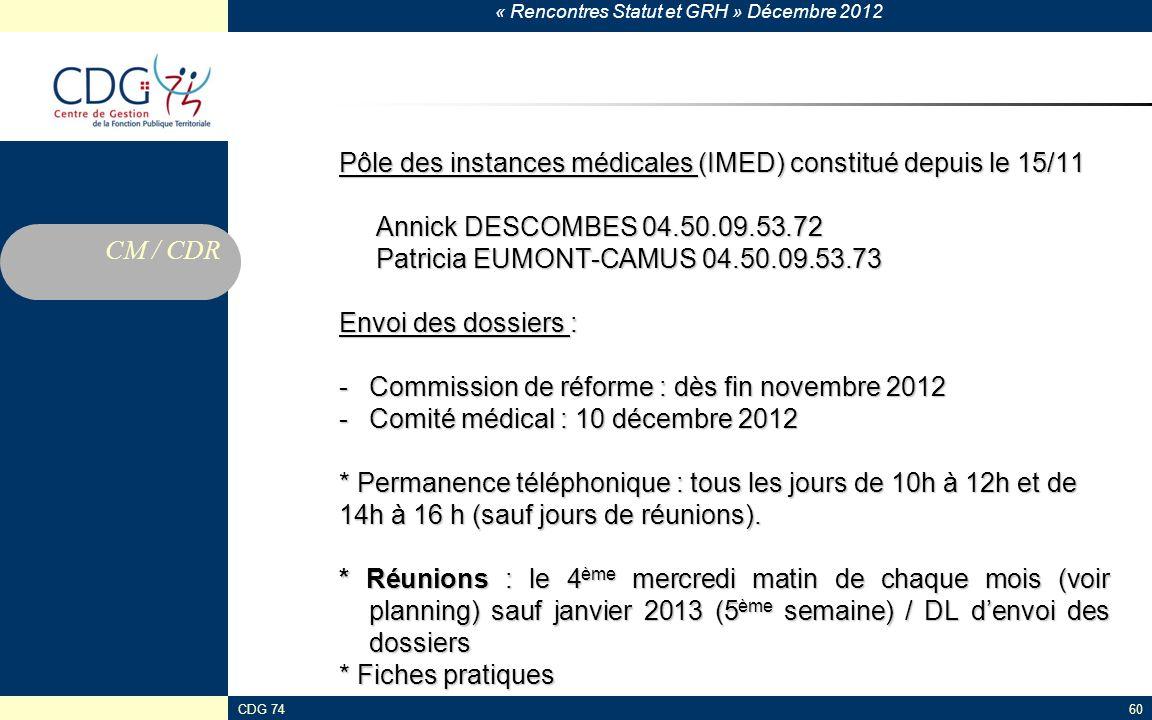Pôle des instances médicales (IMED) constitué depuis le 15/11