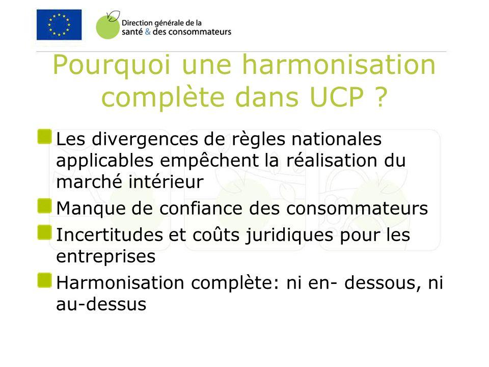 Pourquoi une harmonisation complète dans UCP