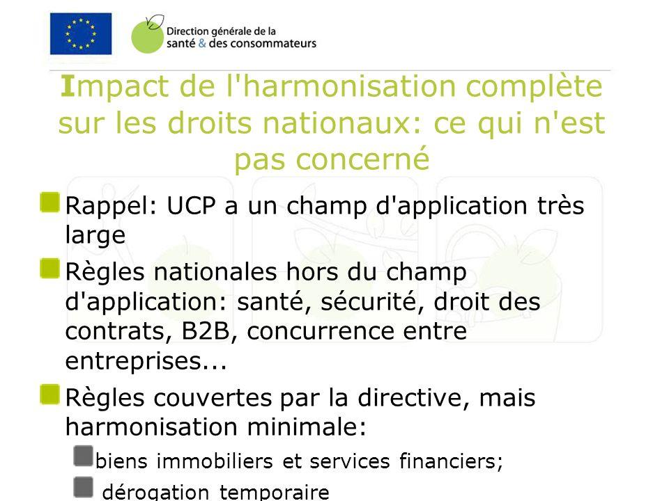 Impact de l harmonisation complète sur les droits nationaux: ce qui n est pas concerné