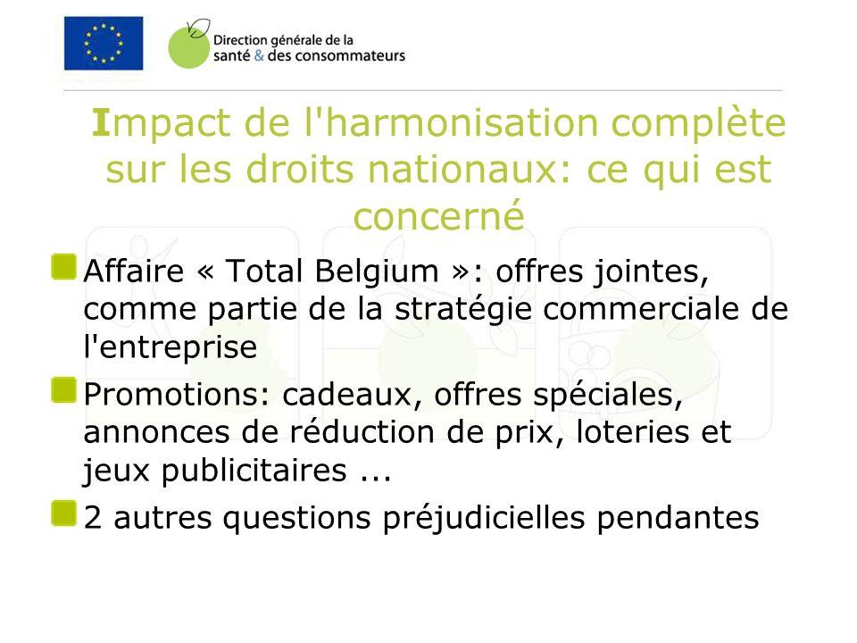Impact de l harmonisation complète sur les droits nationaux: ce qui est concerné