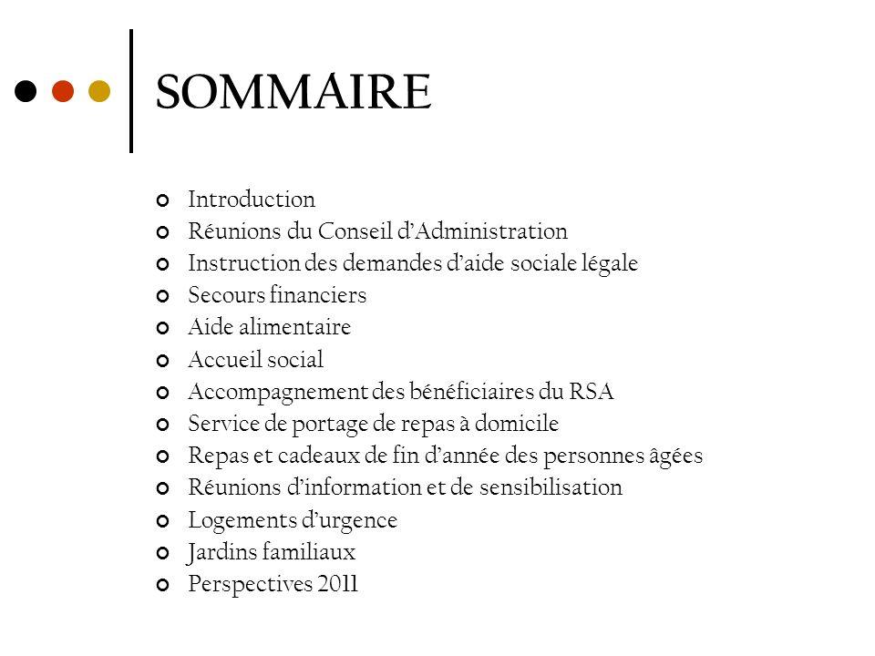 SOMMAIRE Introduction Réunions du Conseil d'Administration