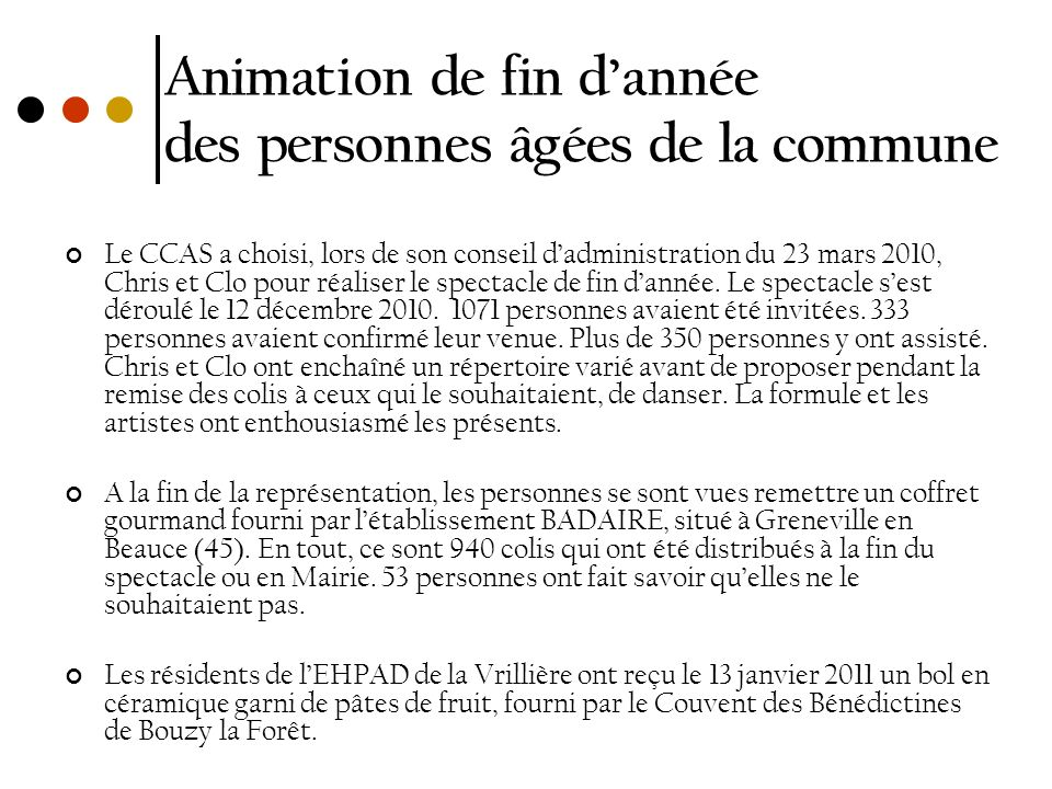 Animation de fin d'année des personnes âgées de la commune