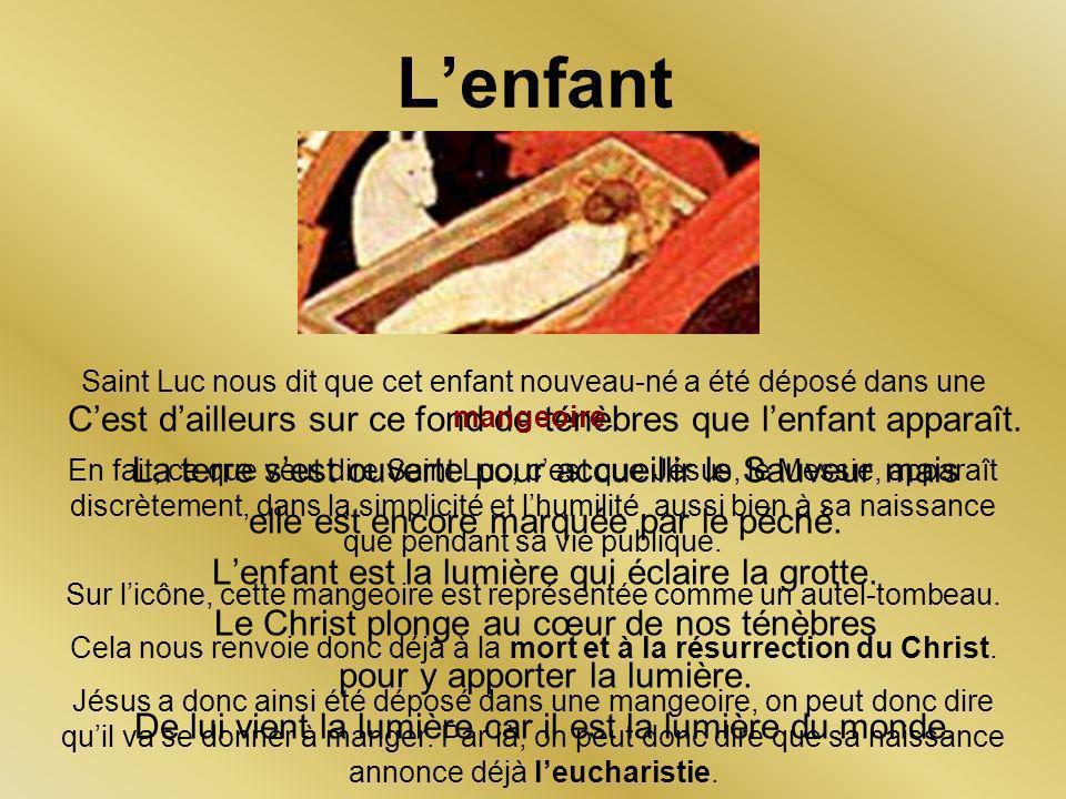 L'enfant Saint Luc nous dit que cet enfant nouveau-né a été déposé dans une mangeoire.