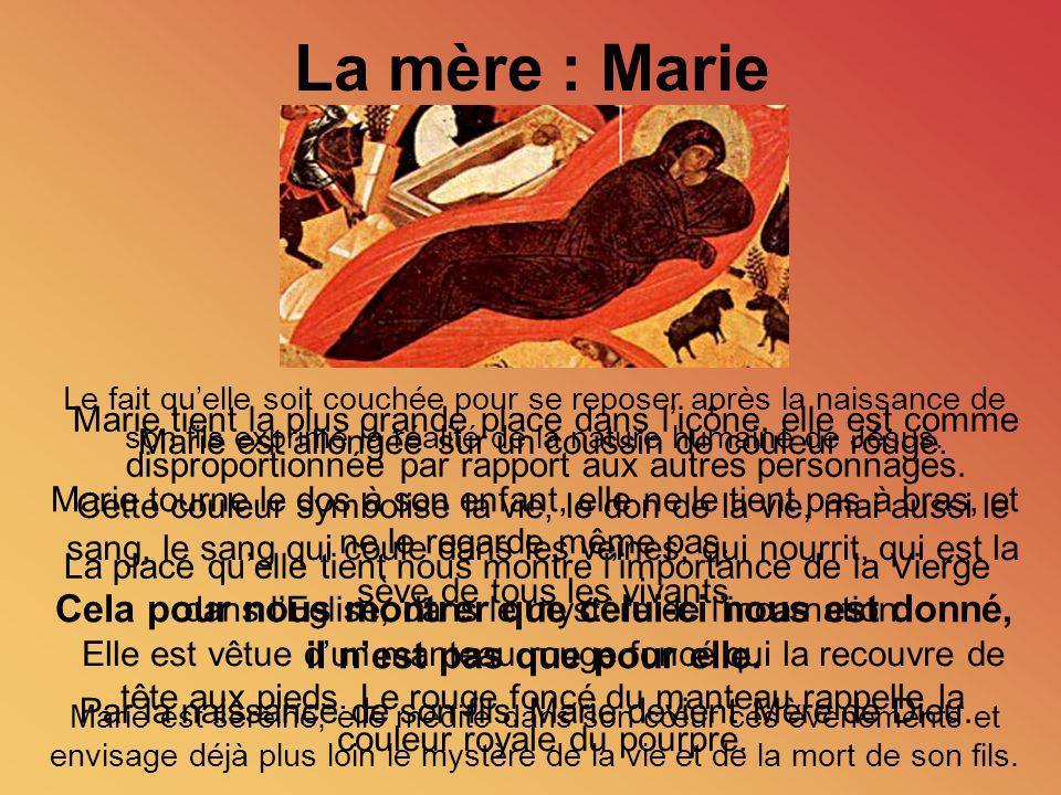 La mère : Marie Le fait qu'elle soit couchée pour se reposer après la naissance de son fils exprime la réalité de la nature humaine de Jésus.