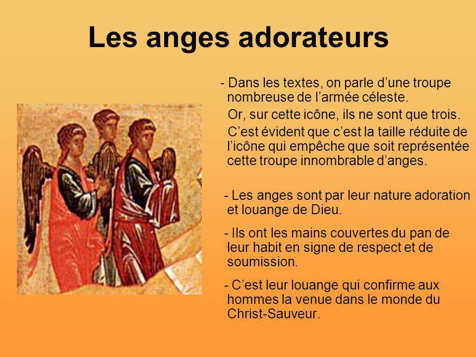 Les anges adorateurs - Dans les textes, on parle d'une troupe nombreuse de l'armée céleste. Or, sur cette icône, ils ne sont que trois.
