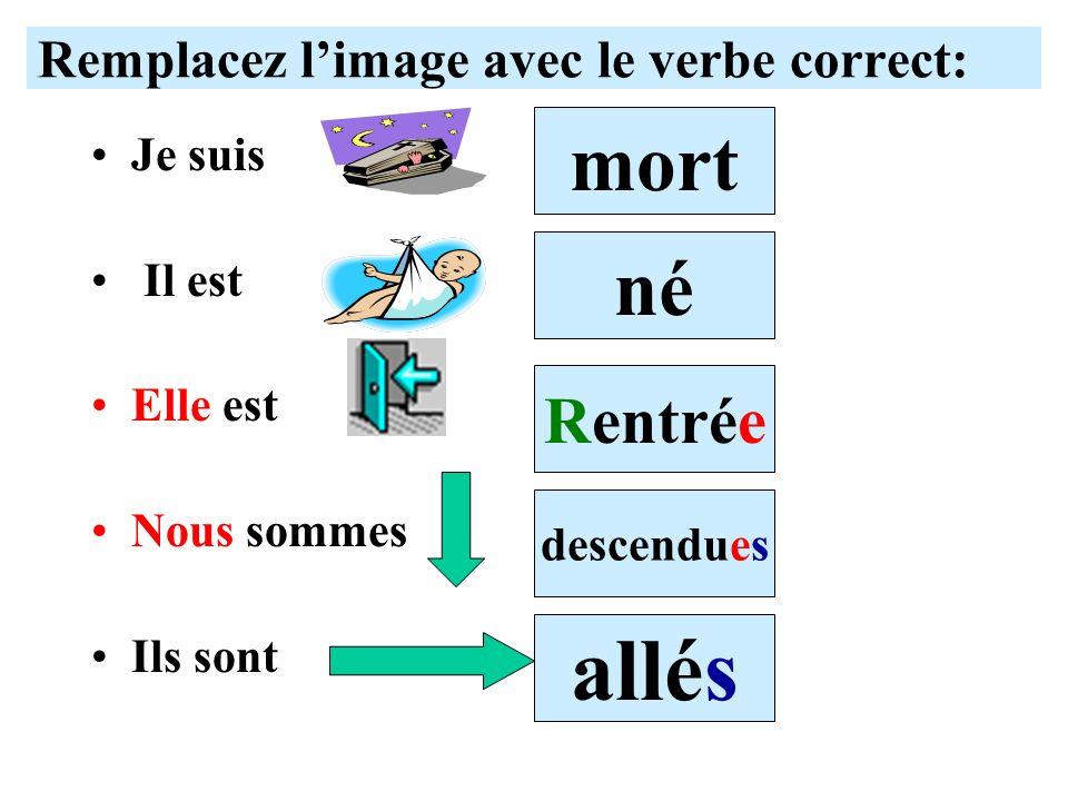 Remplacez l'image avec le verbe correct: