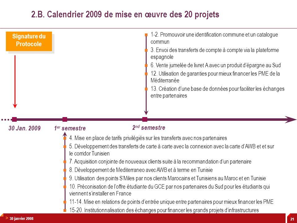2.B. Calendrier 2009 de mise en œuvre des 20 projets