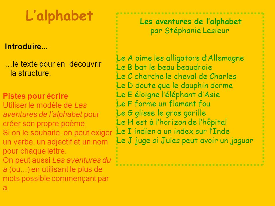 Les aventures de l'alphabet
