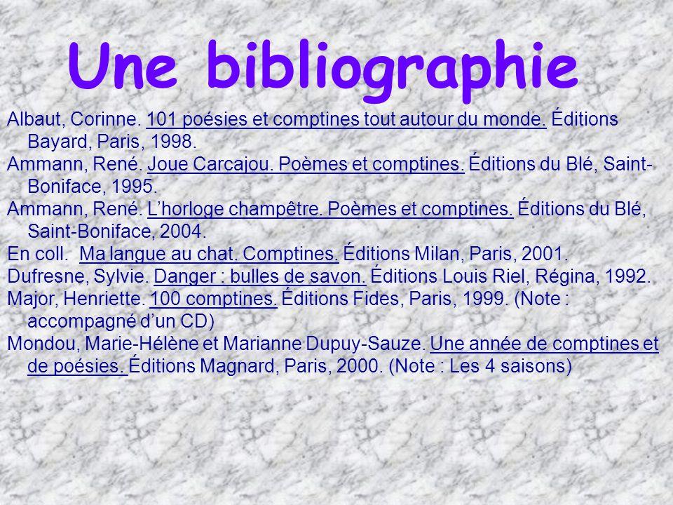 Une bibliographie Albaut, Corinne. 101 poésies et comptines tout autour du monde. Éditions Bayard, Paris, 1998.