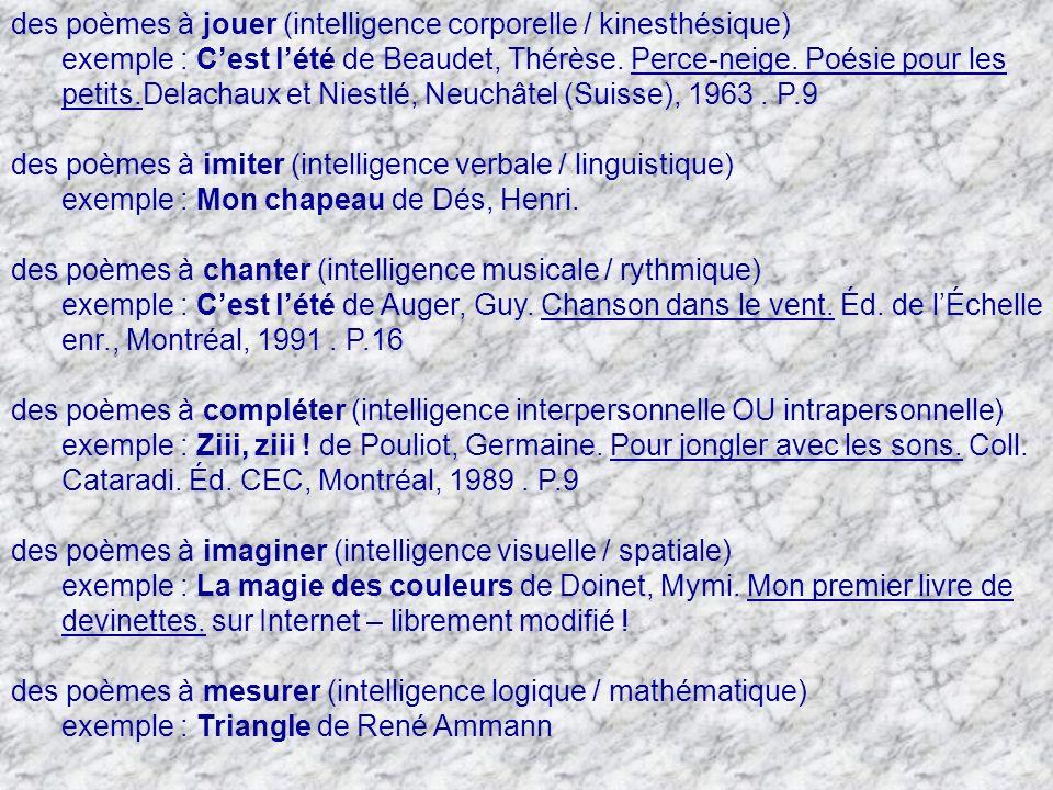 des poèmes à jouer (intelligence corporelle / kinesthésique)
