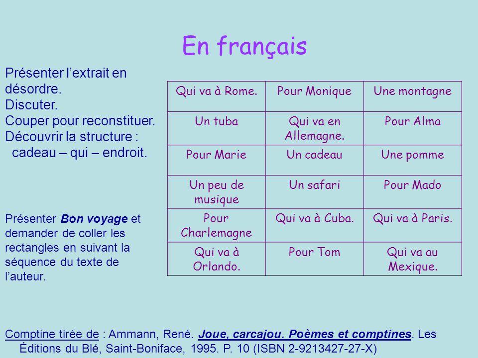 En français Présenter l'extrait en désordre. Discuter.