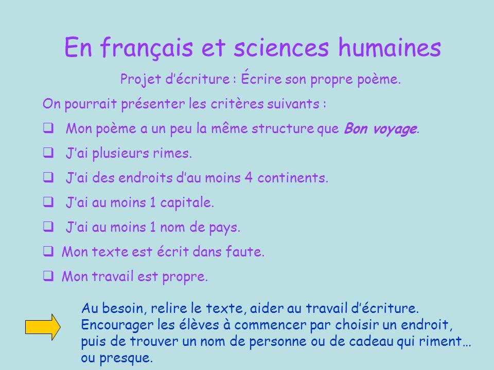 En français et sciences humaines