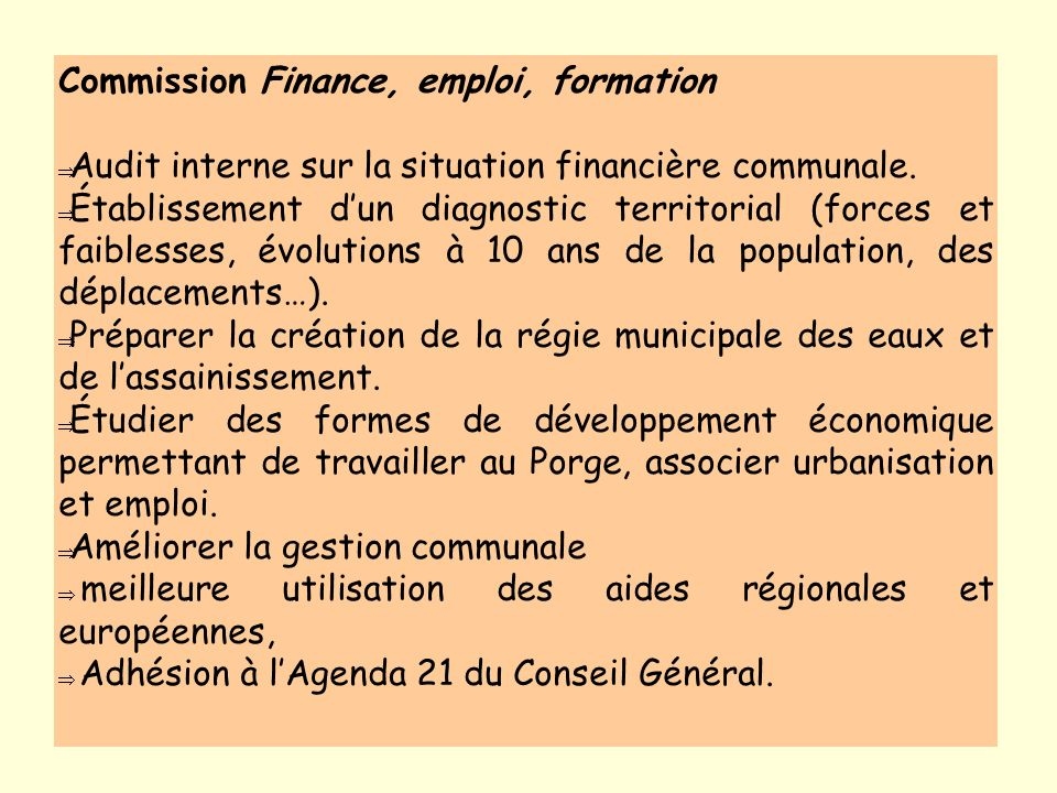 Commission Finance, emploi, formation