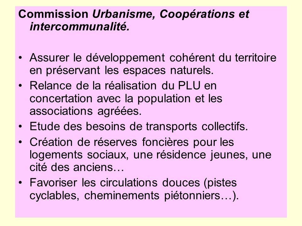 Commission Urbanisme, Coopérations et intercommunalité.