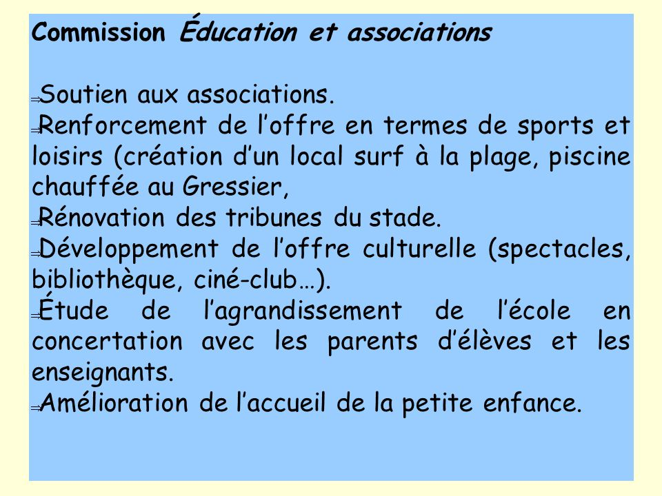 Commission Éducation et associations
