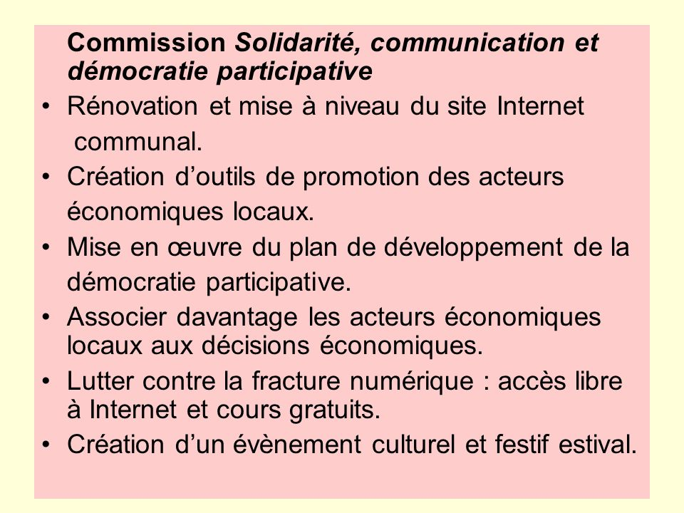 Commission Solidarité, communication et démocratie participative