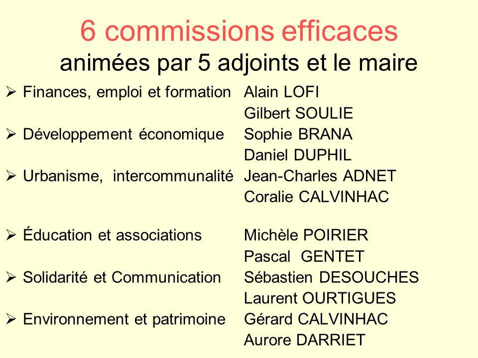 6 commissions efficaces animées par 5 adjoints et le maire