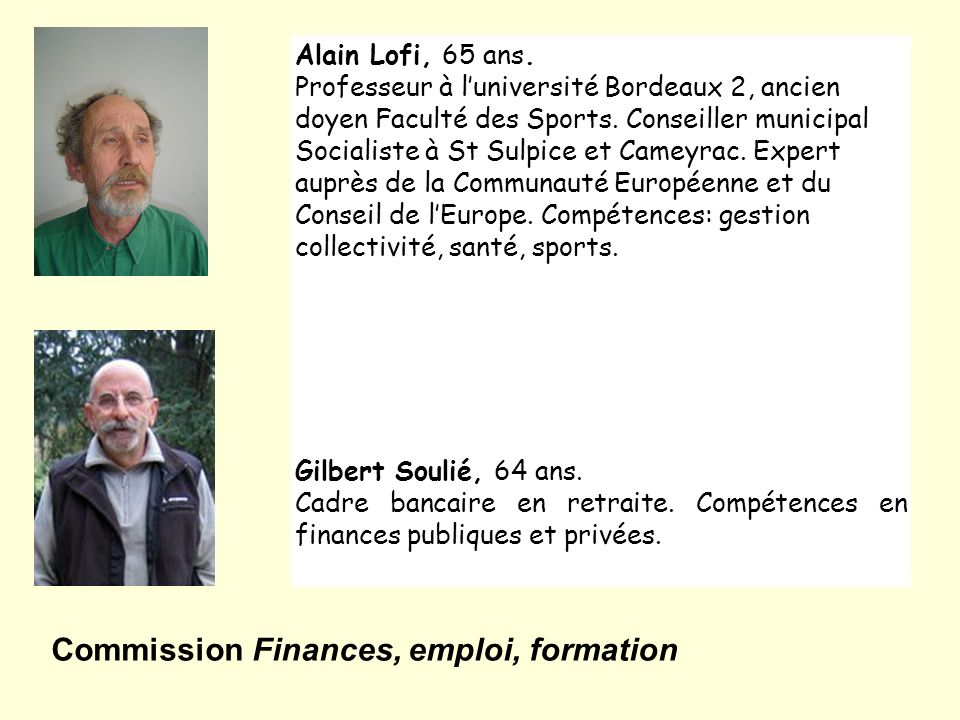 Commission Finances, emploi, formation