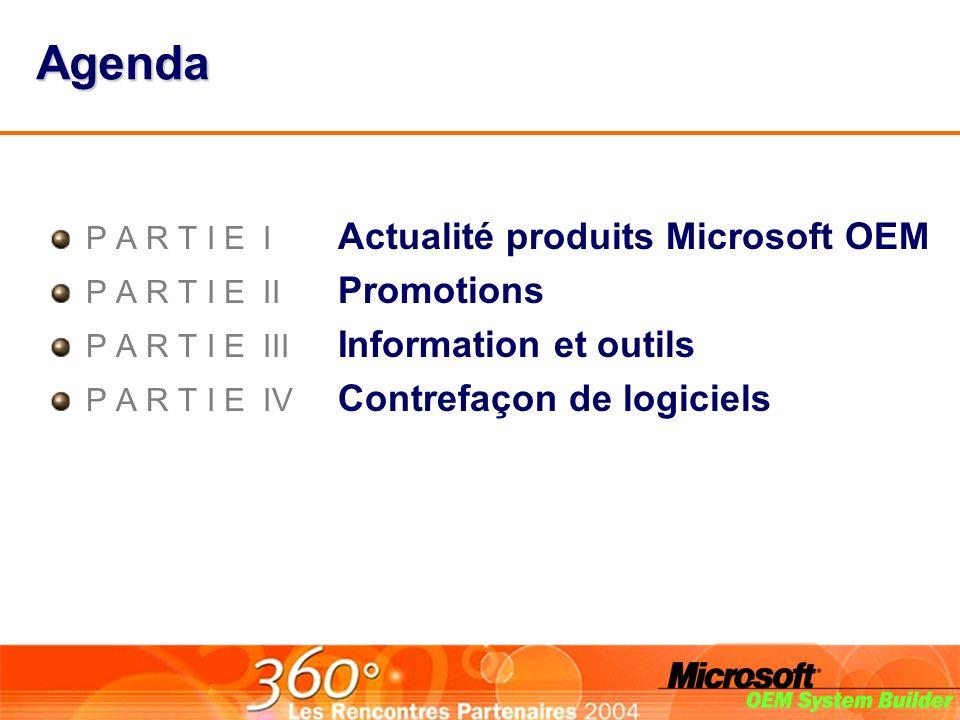 Agenda P A R T I E I Actualité produits Microsoft OEM