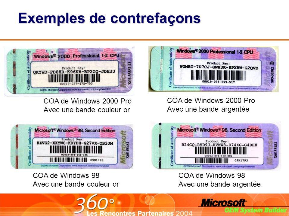 Exemples de contrefaçons