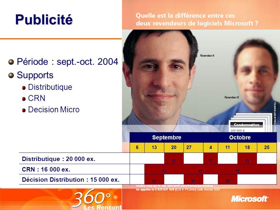 Publicité Période : sept.-oct. 2004 Supports Distributique CRN