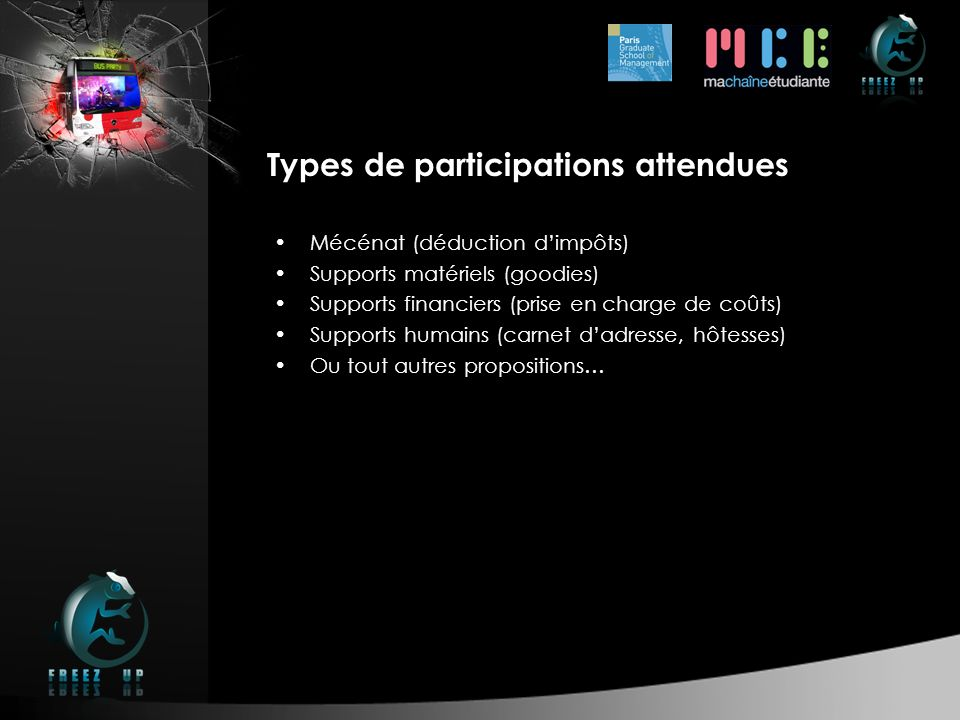 Types de participations attendues