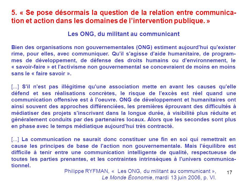 Les ONG, du militant au communicant