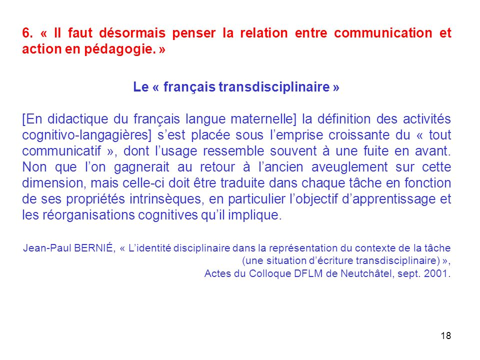 Le « français transdisciplinaire »