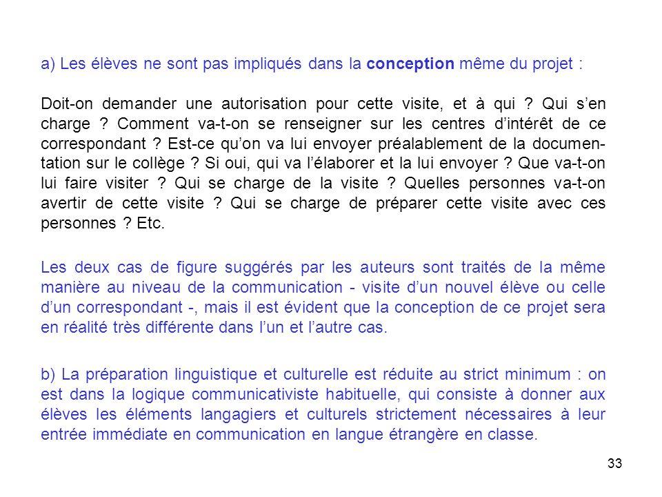 a) Les élèves ne sont pas impliqués dans la conception même du projet :
