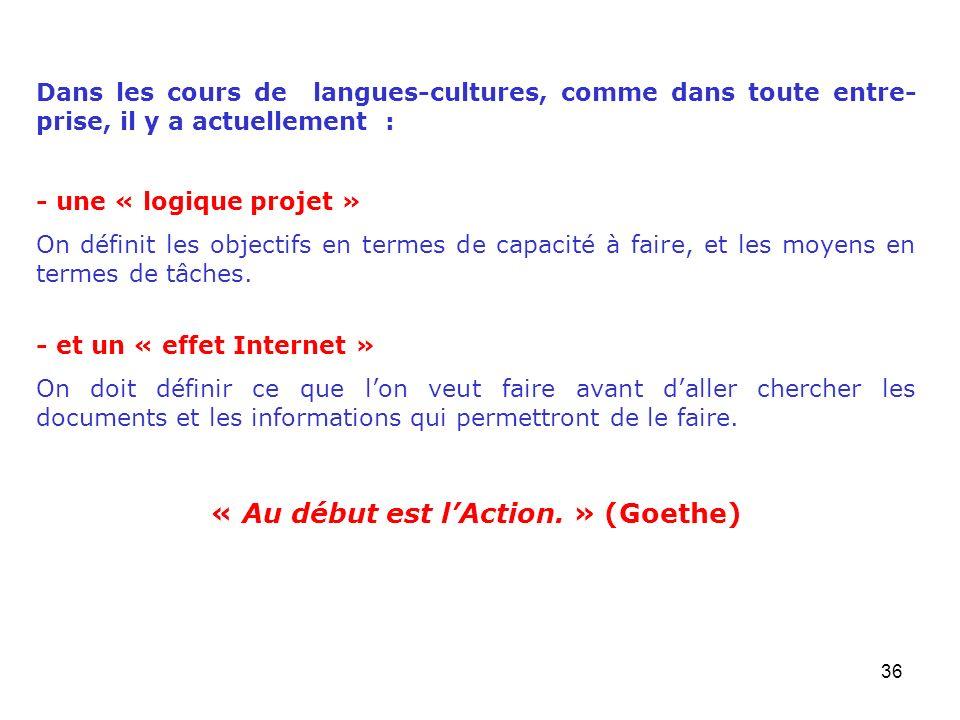 « Au début est l'Action. » (Goethe)