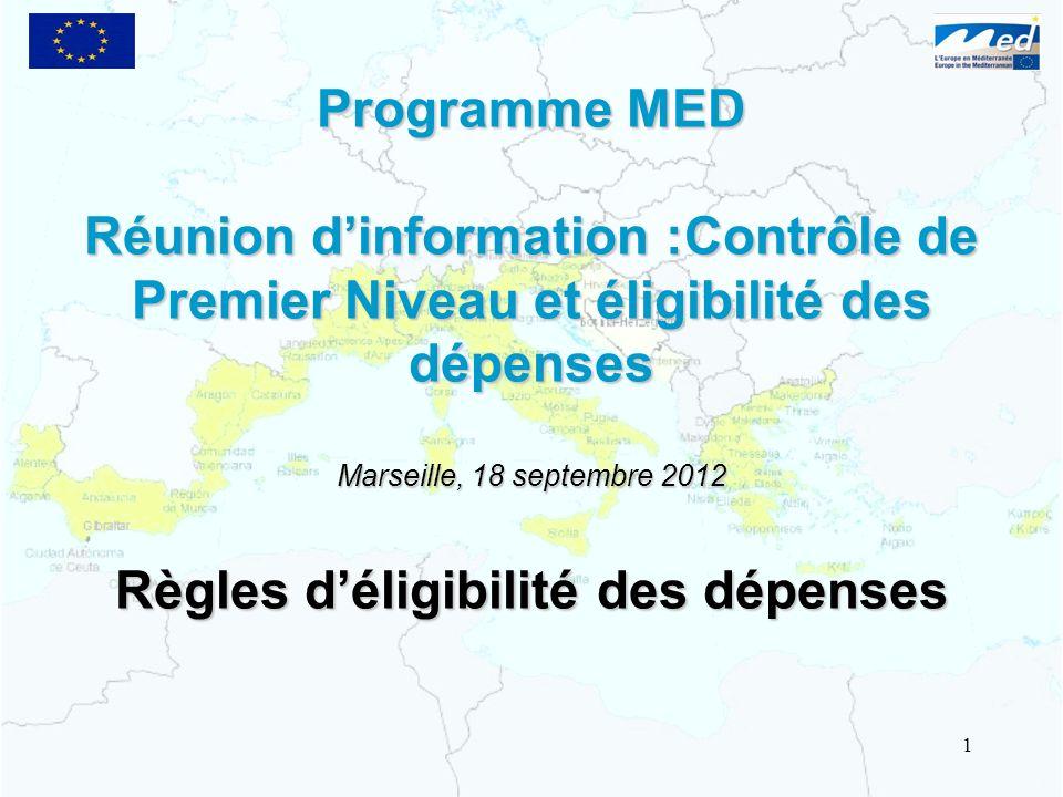 Marseille, 18 septembre 2012 Règles d'éligibilité des dépenses