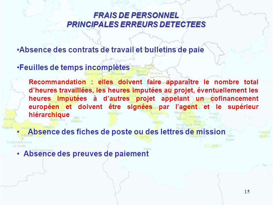 FRAIS DE PERSONNEL PRINCIPALES ERREURS DETECTEES