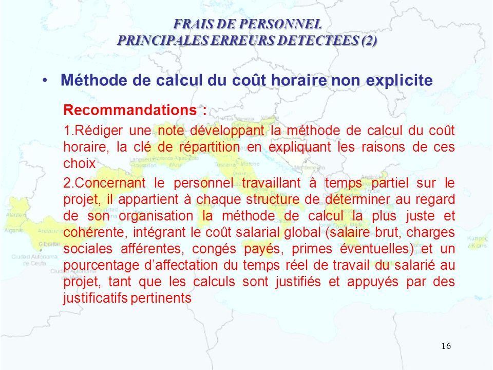 FRAIS DE PERSONNEL PRINCIPALES ERREURS DETECTEES (2)