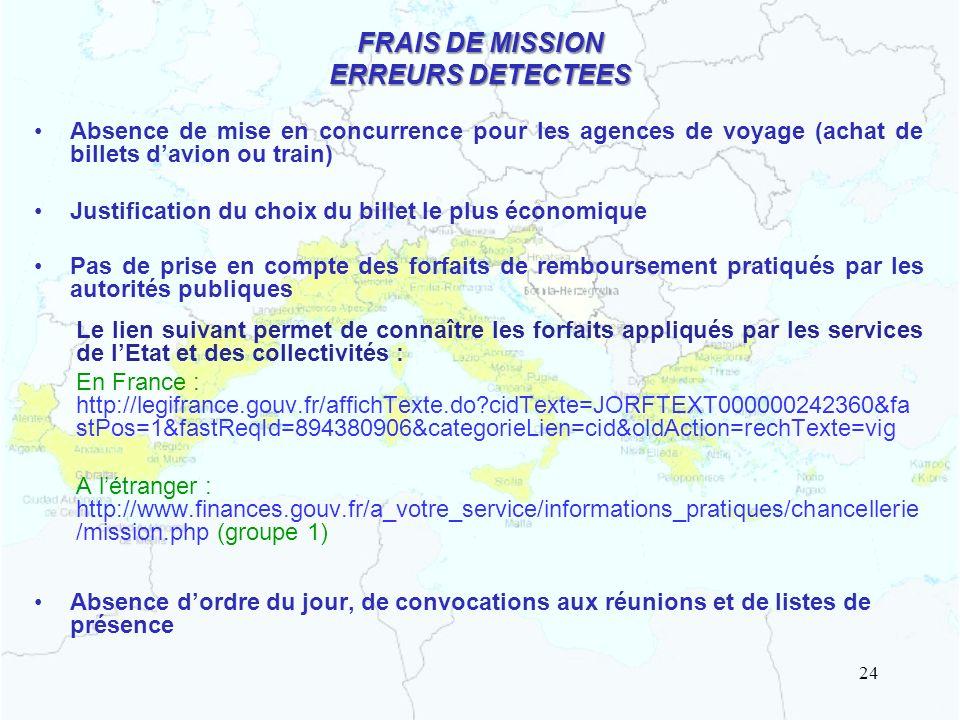 FRAIS DE MISSION ERREURS DETECTEES