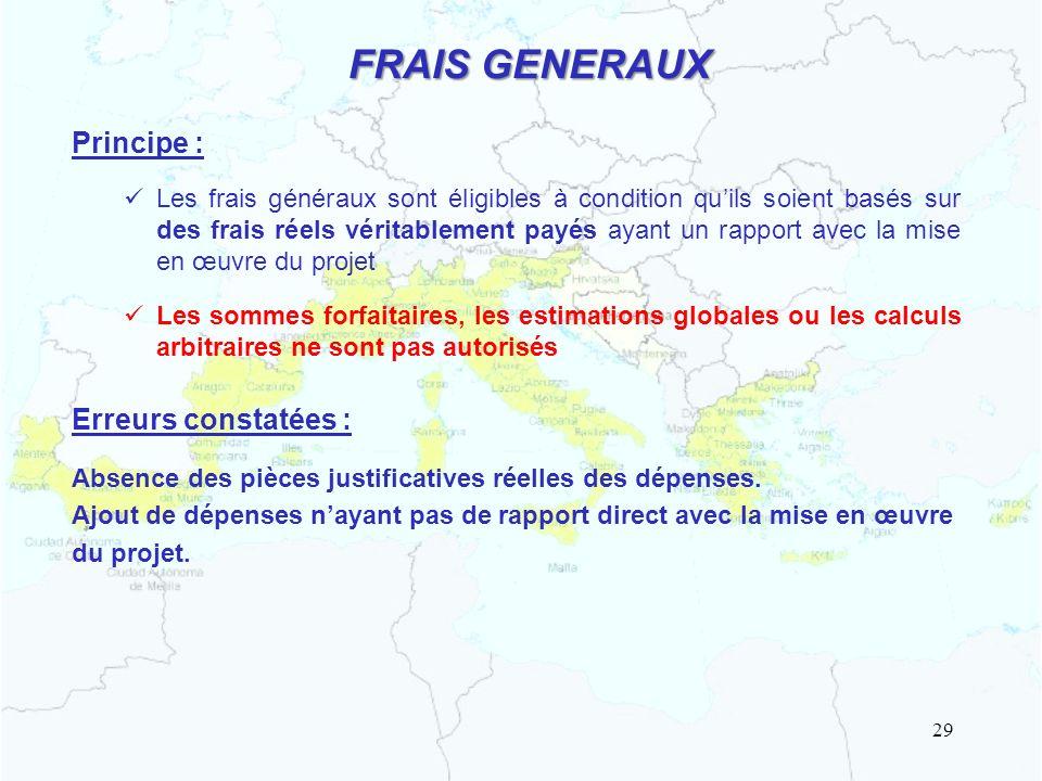 FRAIS GENERAUX Principe : Erreurs constatées :