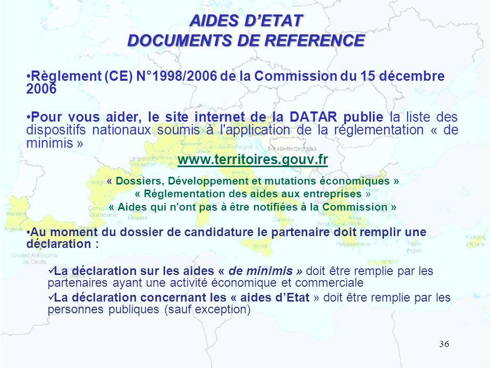 AIDES D'ETAT DOCUMENTS DE REFERENCE