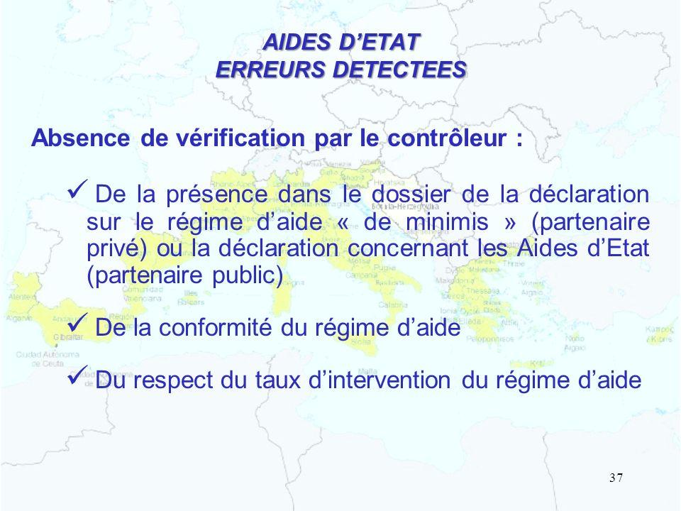 AIDES D'ETAT ERREURS DETECTEES