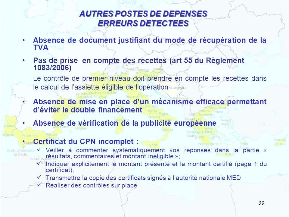 AUTRES POSTES DE DEPENSES ERREURS DETECTEES
