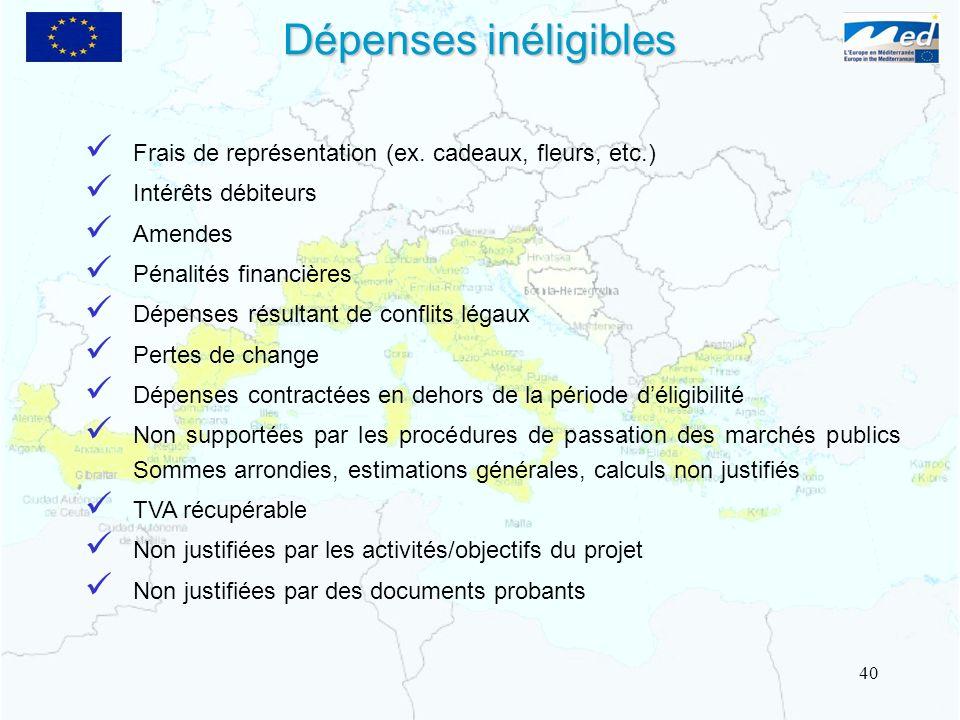 Dépenses inéligibles Frais de représentation (ex. cadeaux, fleurs, etc.) Intérêts débiteurs. Amendes.