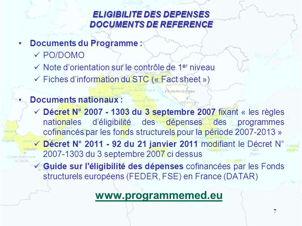ELIGIBILITE DES DEPENSES DOCUMENTS DE REFERENCE