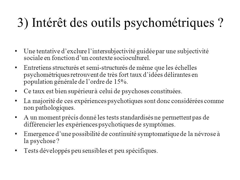 3) Intérêt des outils psychométriques
