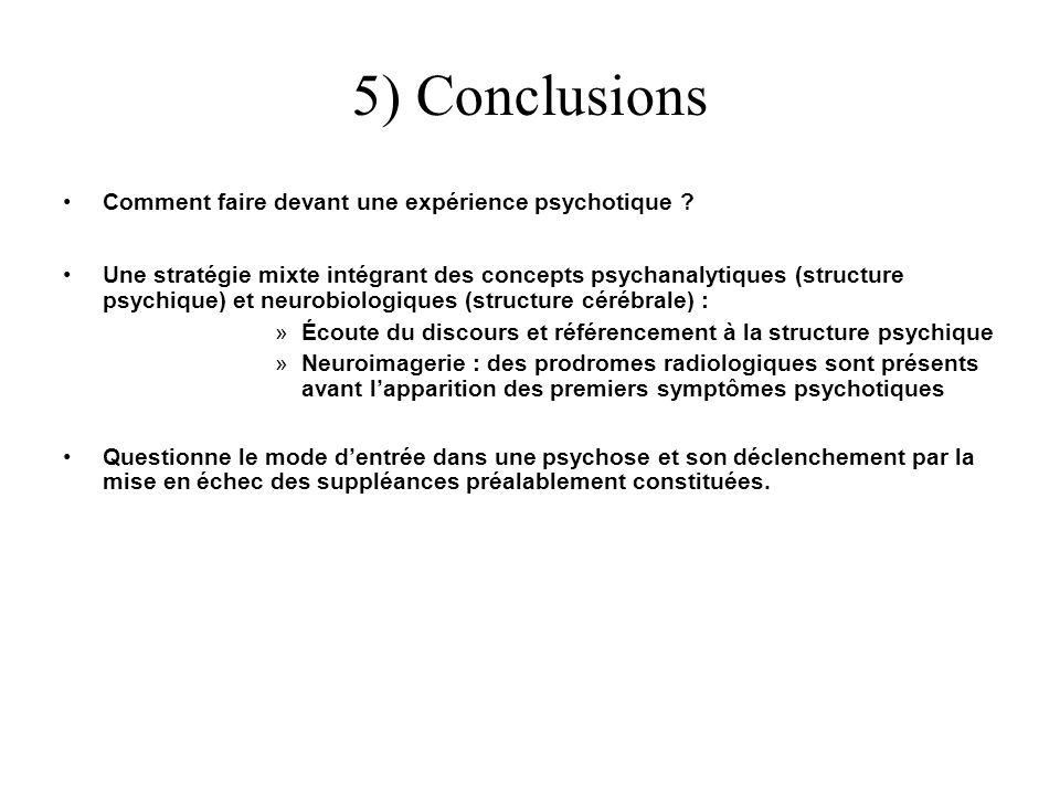 5) Conclusions Comment faire devant une expérience psychotique