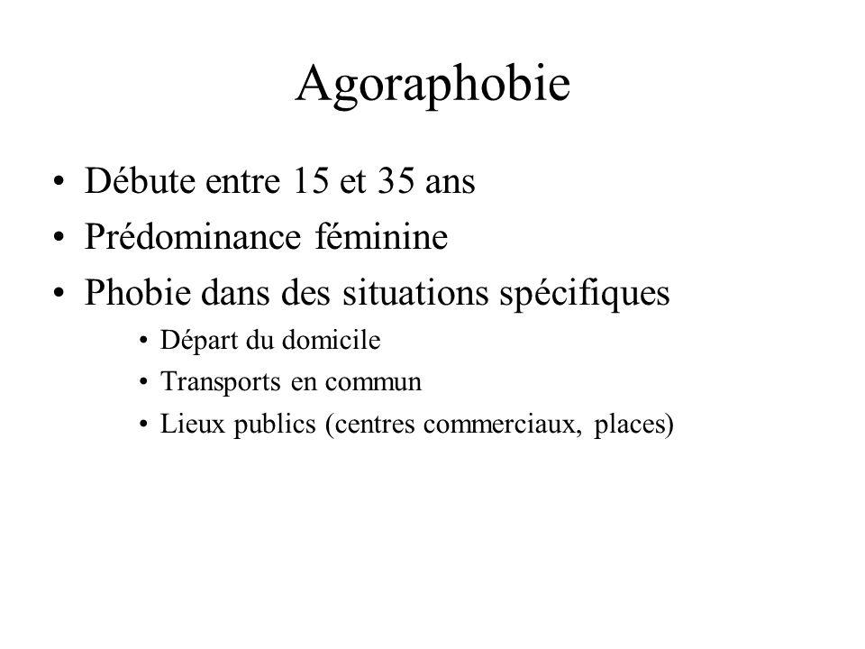 Agoraphobie Débute entre 15 et 35 ans Prédominance féminine