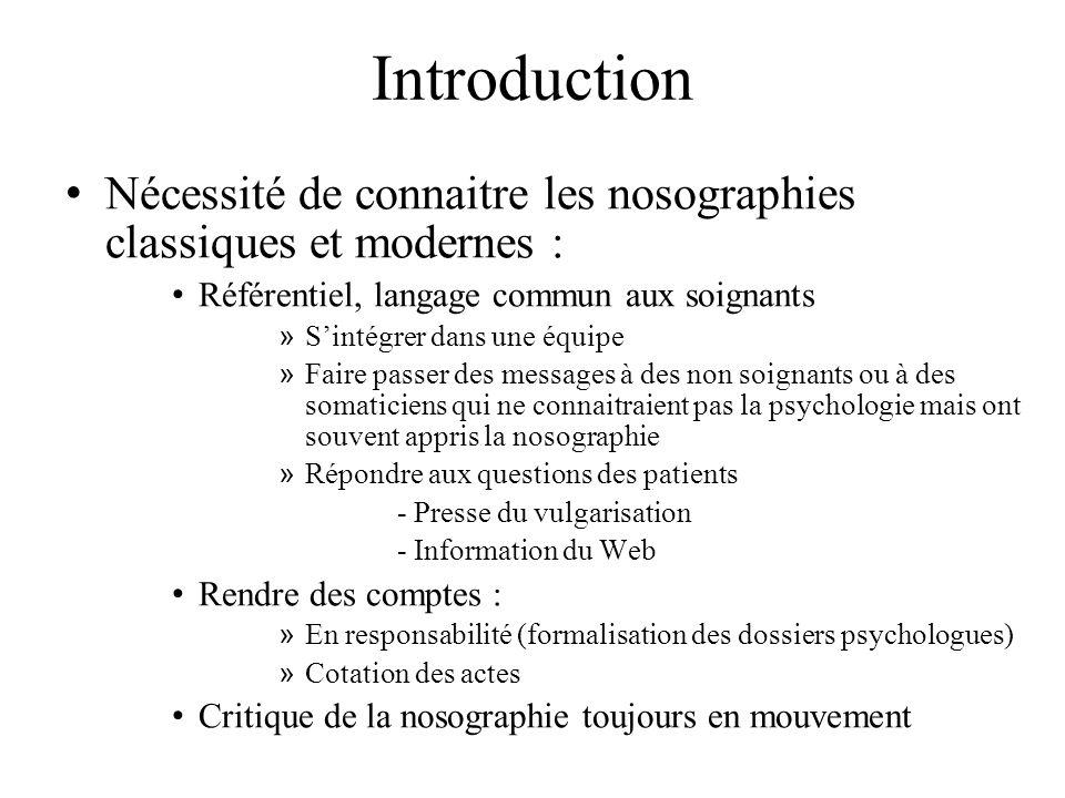 Introduction Nécessité de connaitre les nosographies classiques et modernes : Référentiel, langage commun aux soignants.