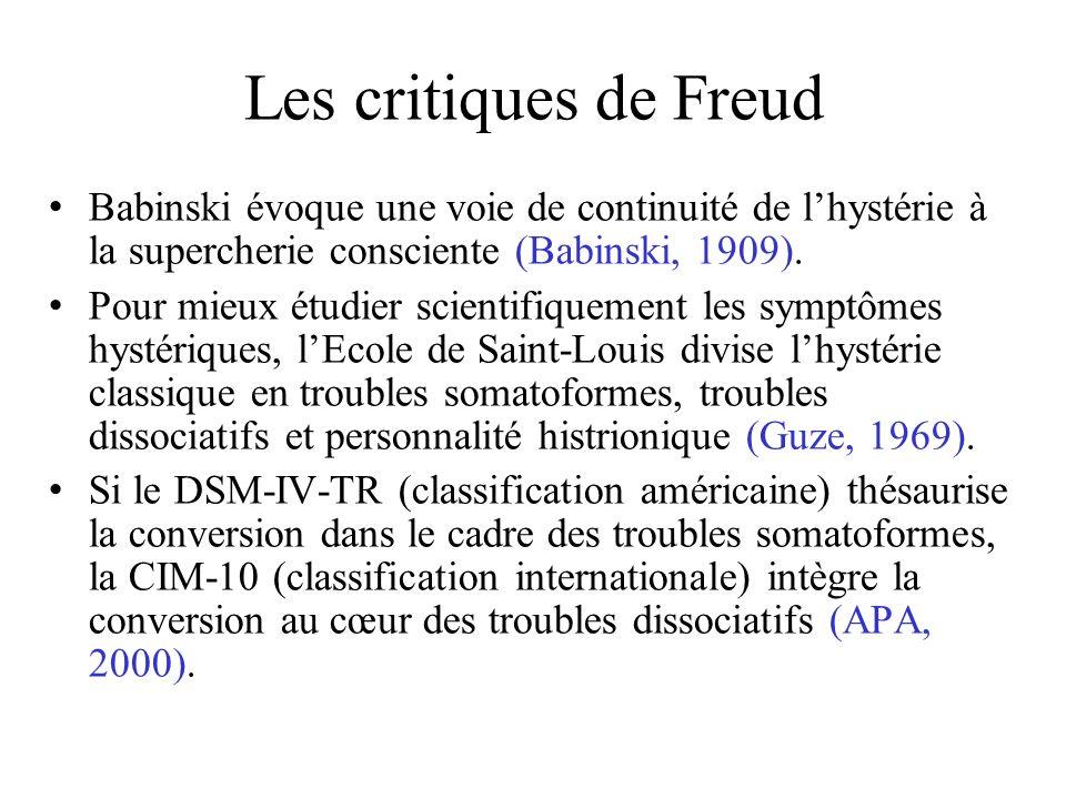 Les critiques de Freud Babinski évoque une voie de continuité de l'hystérie à la supercherie consciente (Babinski, 1909).