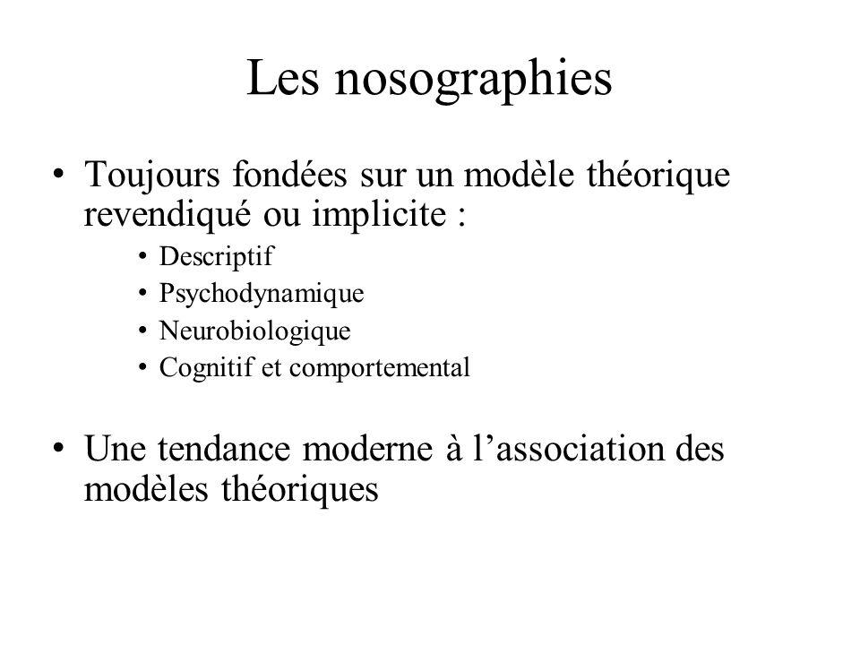 Les nosographies Toujours fondées sur un modèle théorique revendiqué ou implicite : Descriptif. Psychodynamique.
