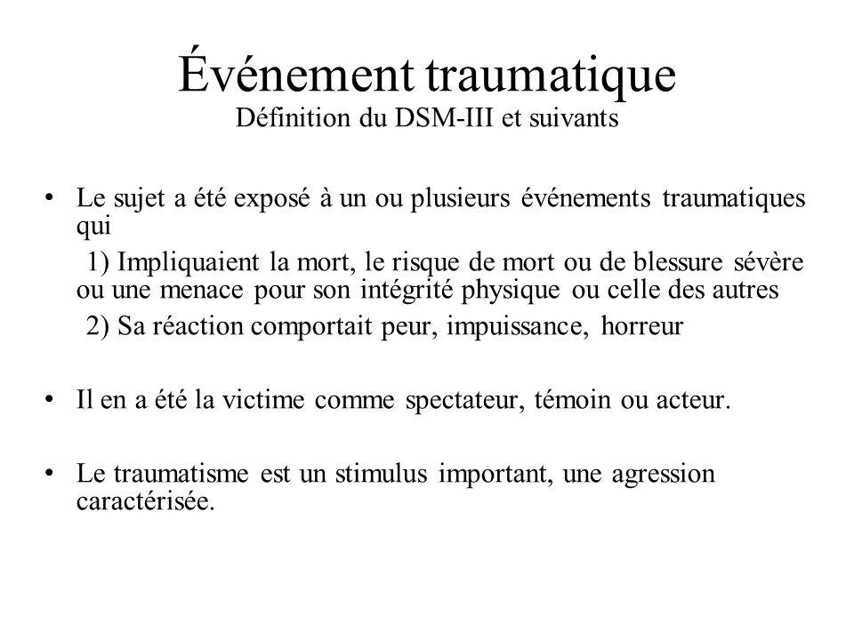 Événement traumatique Définition du DSM-III et suivants